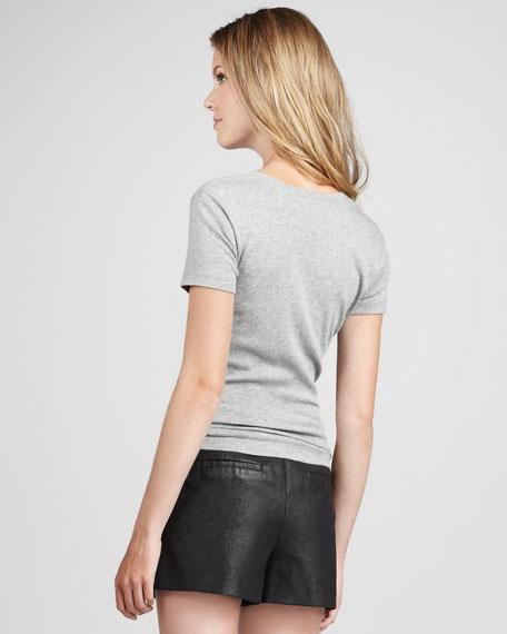 Distressed Coated Velvet Shorts