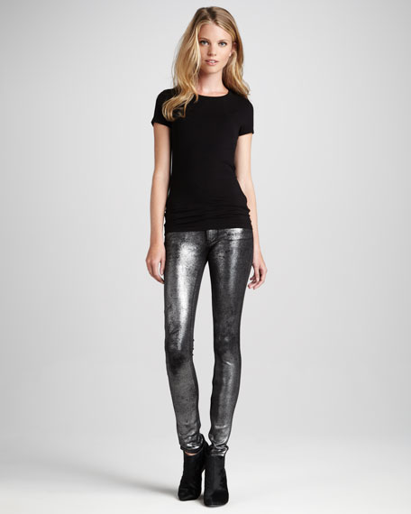 Metallic Twill Leggings
