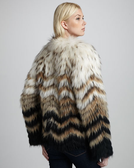 Cassius Ombre Raccoon Coat