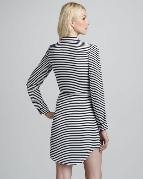 Drula Striped Belted Shirtdress