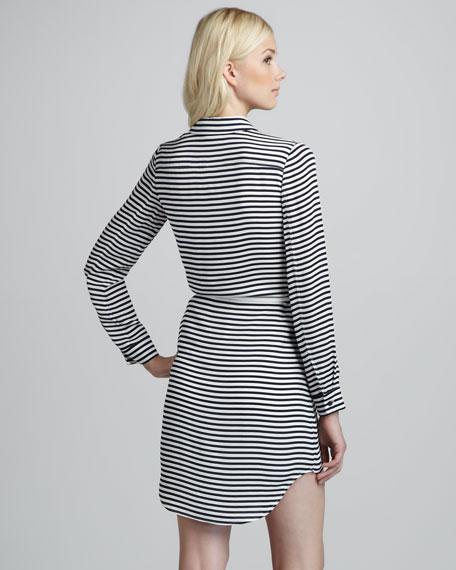 Drula Striped Belted Shirtdress