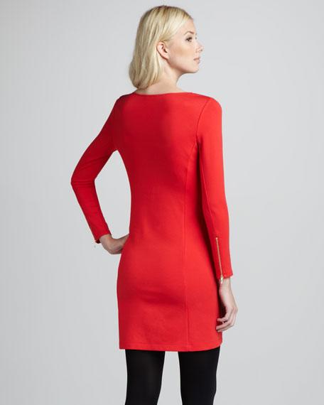 Kalion Ponte Zipper-Cuff Dress