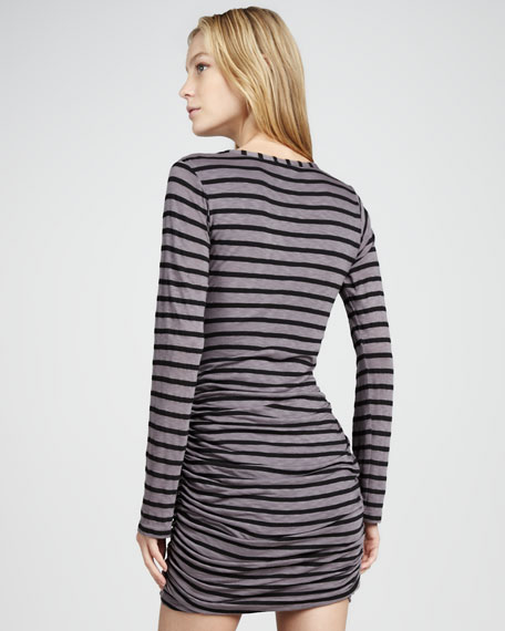 Striped Ruch-Skirt Long-Sleeve Dress