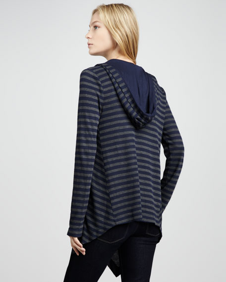 Striped Hooded Open Cardigan