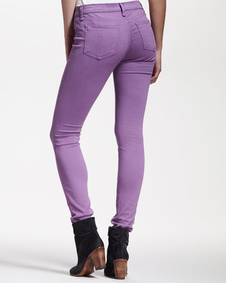 Cropped Stretch-Twill Leggings, Violet
