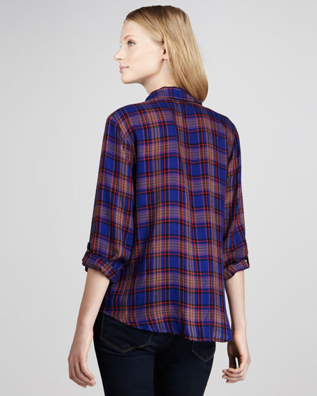 Charlee Plaid Blouse, Iris