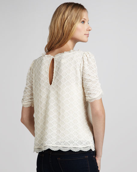 Tullia Geometric Lace Top