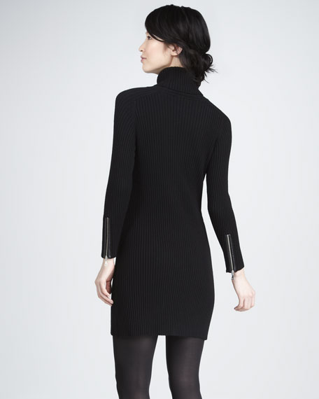 Ribbed Sweater Dress with Leather Pockets