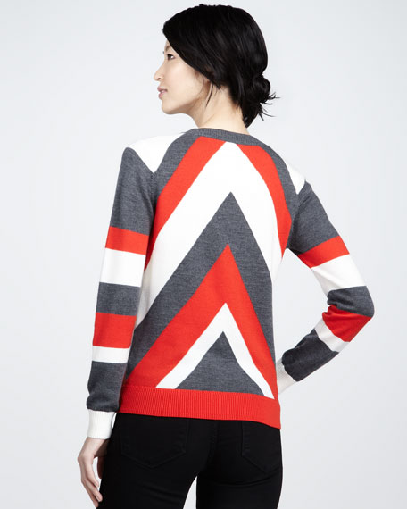 Chevron-Pattern Intarsia Sweater