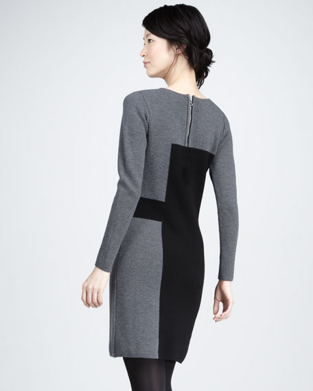 Paneled Intarsia Sweater Dress