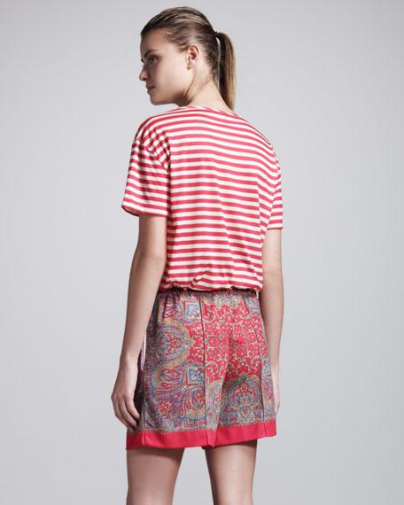 Paisley Pique-Knit Shorts
