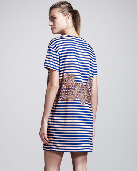 Striped Belt-Print Jersey Tee Dress