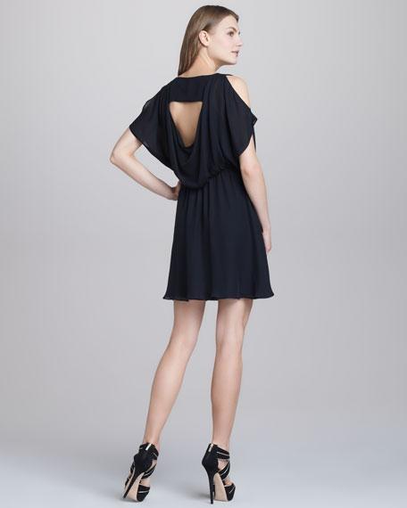 Zarrah Cold-Shoulder Silk Dress