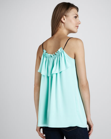 Ruffled Stretch-Silk Tank