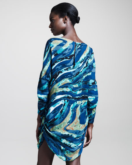 Water-Print Cocoon Dress
