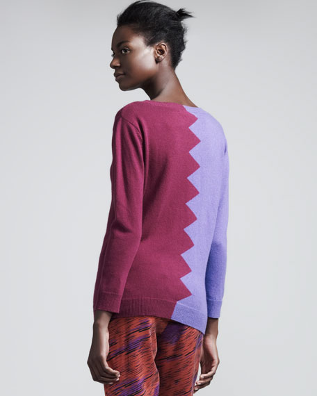 Slither Colorblock Sweater, Amethyst/Violet