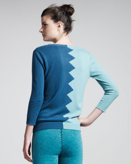 Slither Colorblock Sweater, Aquamarine/Teal