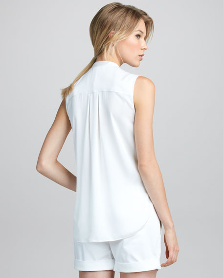 Sleeveless Half-Placket Blouse