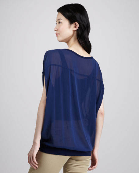 Knit-Trim Chiffon Top