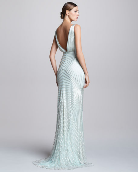 V-Neck Geometric Beaded Bias Gown