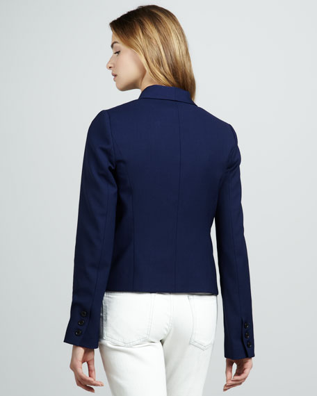 Cropped Open-Front Blazer
