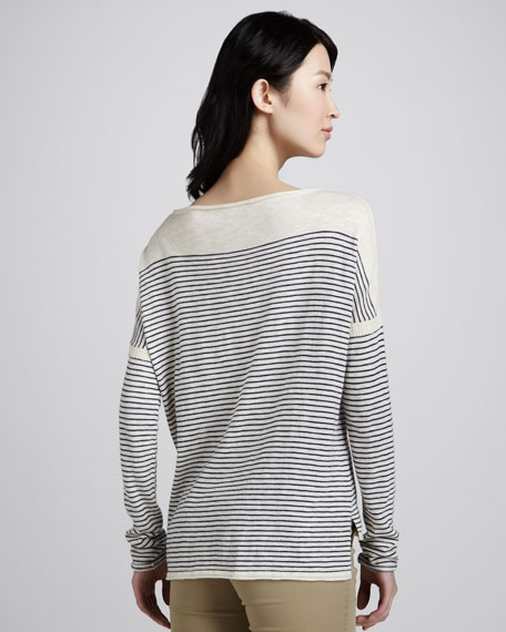Striped Side-Slit Sweater