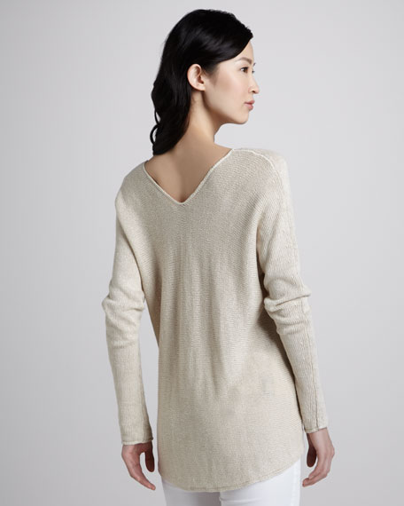 Knit V-Neck Linen Sweater, Parchment
