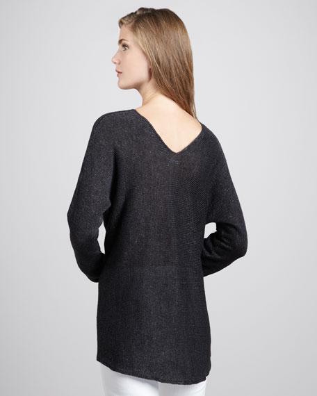 Vince Knit V Neck Linen Sweater Black