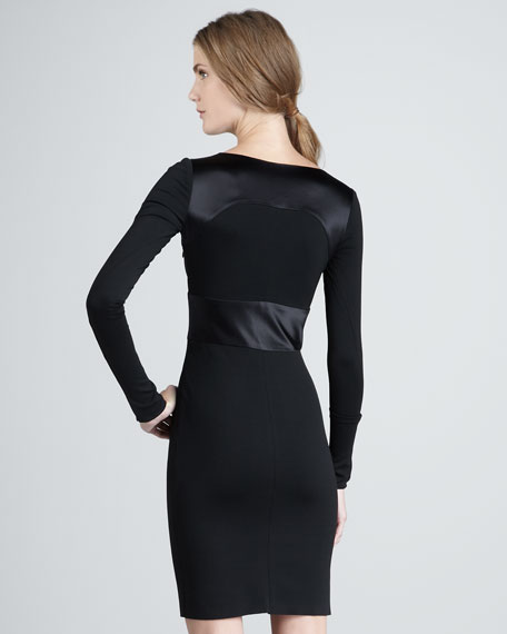 Front-Cutout Long-Sleeve Ponte Dress