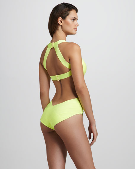 Neon Cross-Front Cutout One-Piece