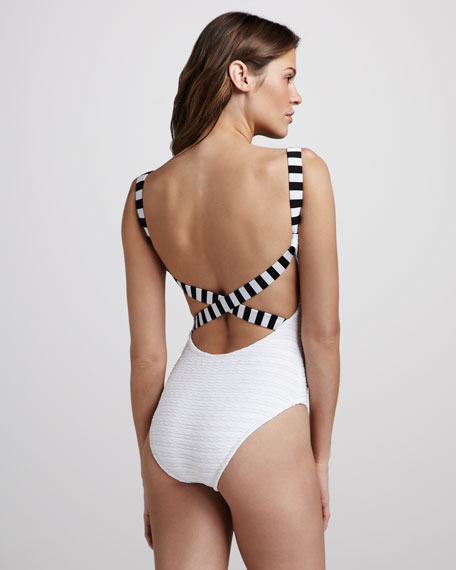 Texture-Stripe One-Piece Swimsuit