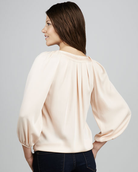 Cahil Pleated V-Neck Blouse