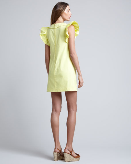 Ruffle-Sleeve Shift Dress, Lemon