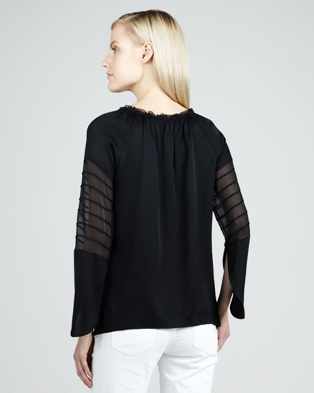 Etta Sheer-Sleeve Blouse