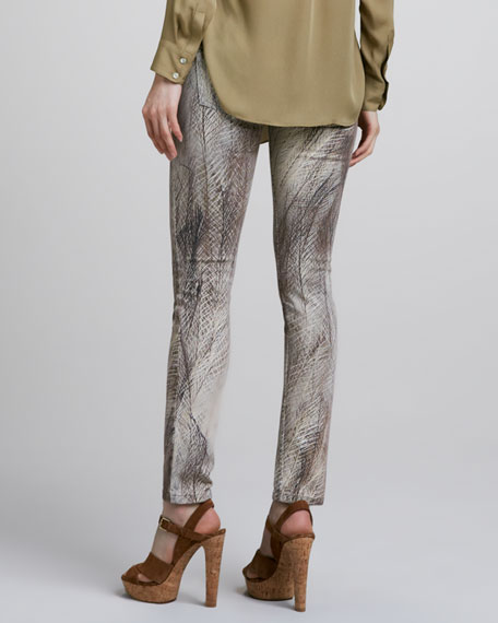 Feather-Print Slim Jeans