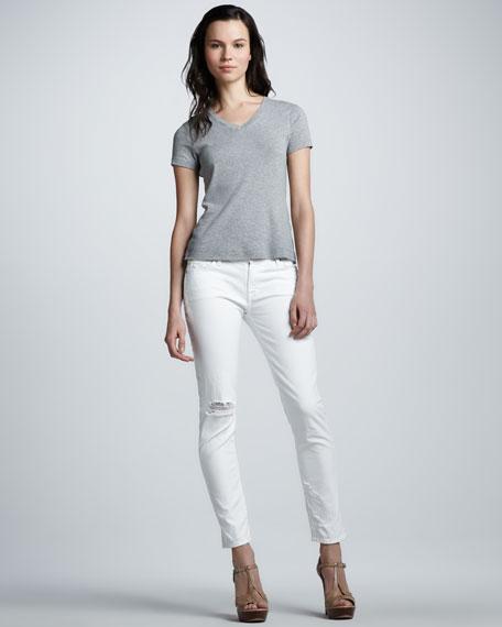 The Slim Cigarette Distressed Jeans