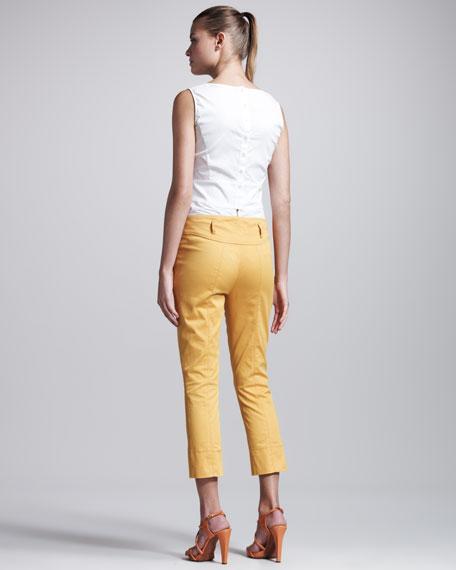 Stretch-Gabardine Cropped Pants