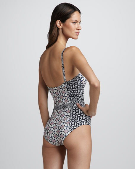 Eden Mixed-Print One-Piece Swimsuit