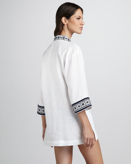 Tory Linen Coverup Tunic, White