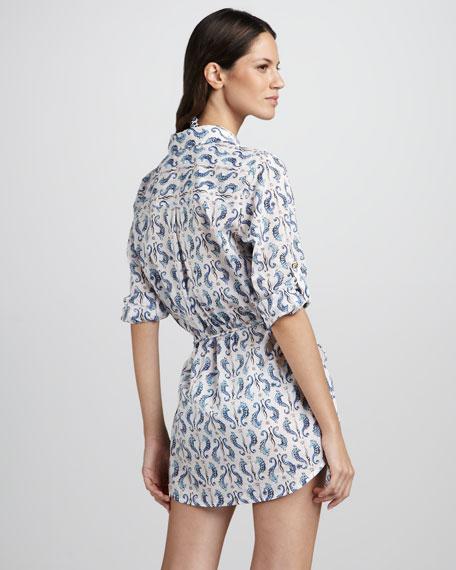 Tamarin Seahorse-Print Shirtdress Coverup