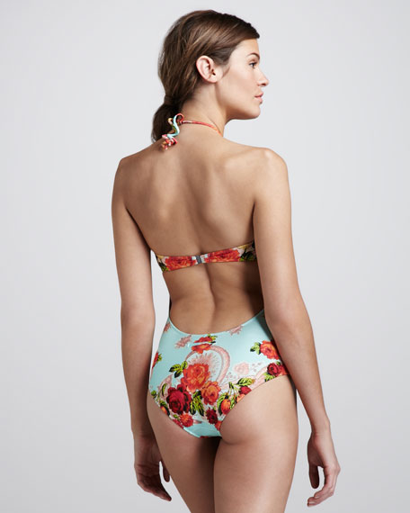 Floral-Print Bandeau One-Piece Swimsuit