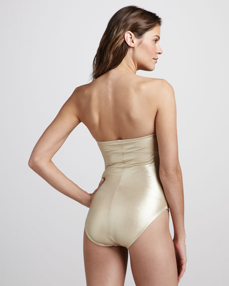 Metallic Ruched One-Piece