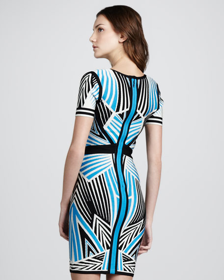 Printed Short-Sleeve Bandage Dress