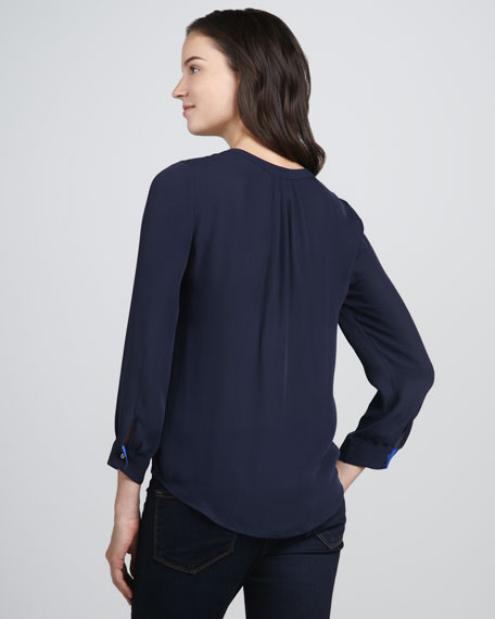 Peterson Contrast-Neck Blouse