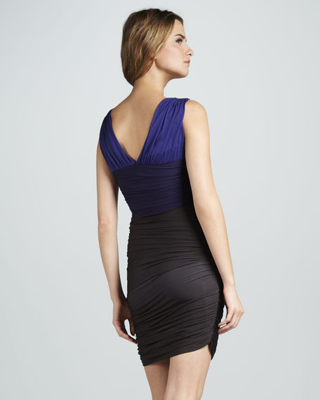 Ruched Colorblock V-Neck Dress