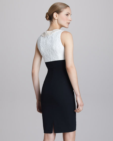 Brocade-Bodice Cocktail Dress