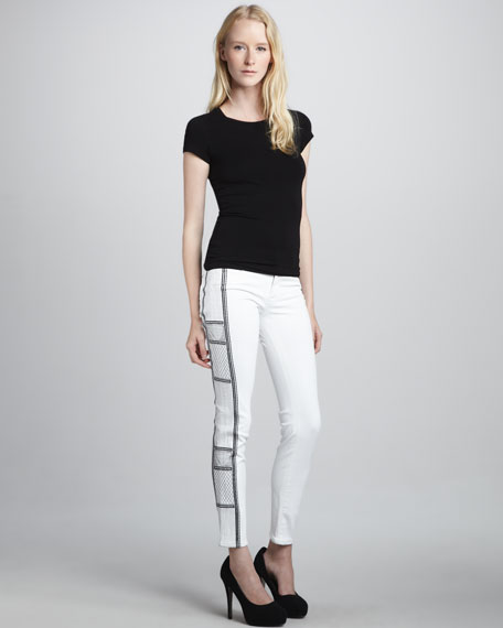 Tamara Skinny Embroidered White Jeans