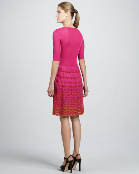Wave-Stripe Half-Sleeve Dress