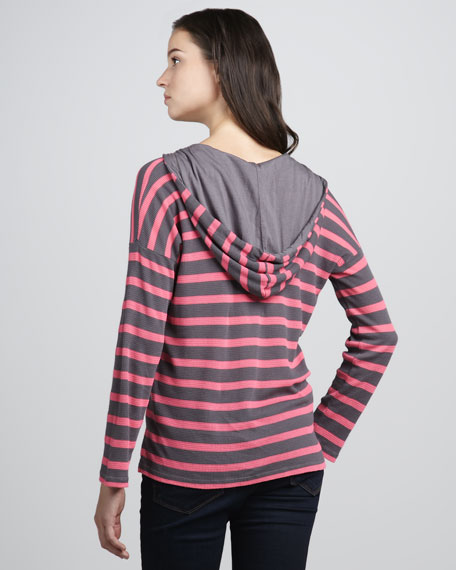 Striped Thermal Pullover Hoodie