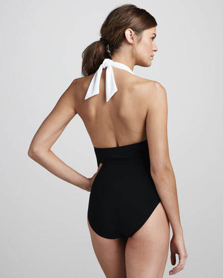 Lace-Panel One-Piece Swimsuit